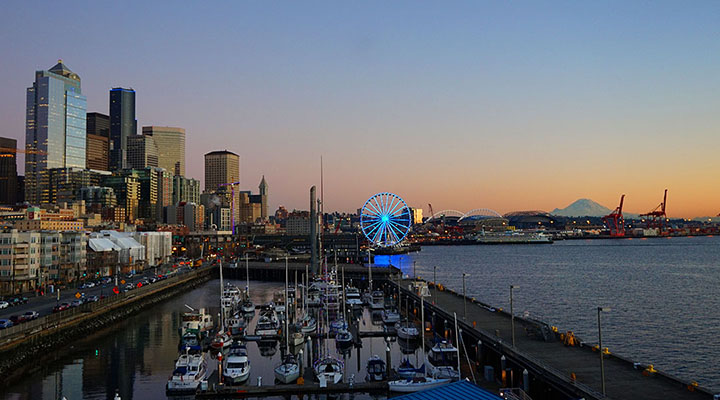 Evening view of the Seattle skyline.